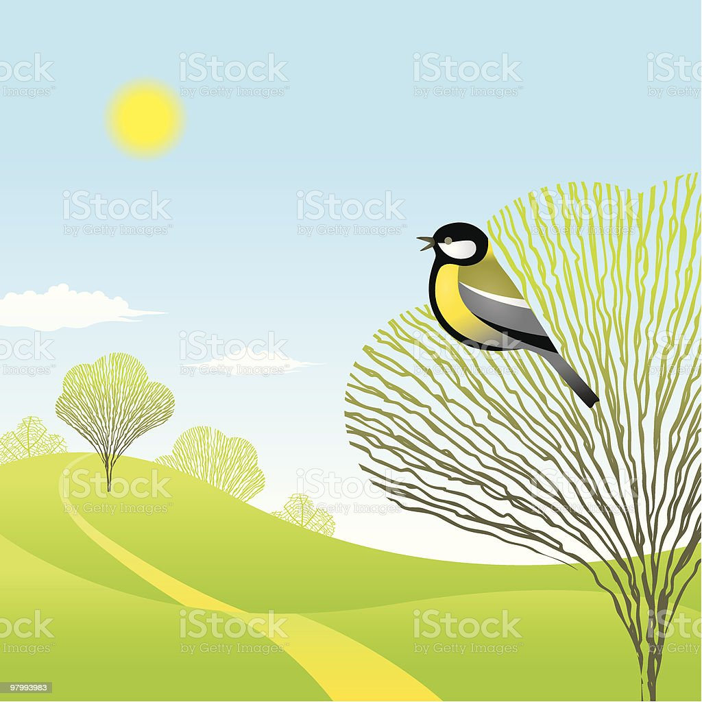 Spring landscape with a bird royalty-free spring landscape with a bird stock vector art & more images of beauty in nature