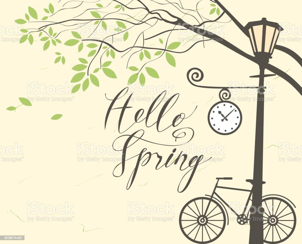 Ilustración de Paisaje De Primavera Con Bici árbol Y Poste De Luz y ...