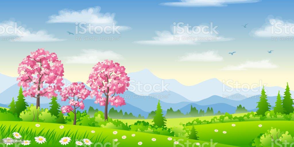 Frühlingslandschaft mit blühenden Bäumen - Lizenzfrei Baum Vektorgrafik