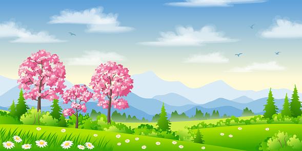 Frühlingslandschaft Mit Blühenden Bäumen Stock Vektor Art und mehr Bilder von Baum