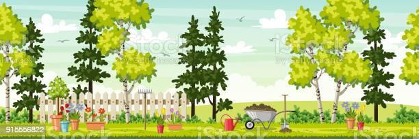 Spring landscape with garden tools panorama vector id915556822?b=1&k=6&m=915556822&s=612x612&h=yel0sjkbwpninmsqpdkusszjzwz3quekuftuwwe1l1o=