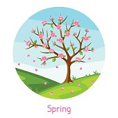 Spring landscape with tree and sakura flowers. Seasonal illustration