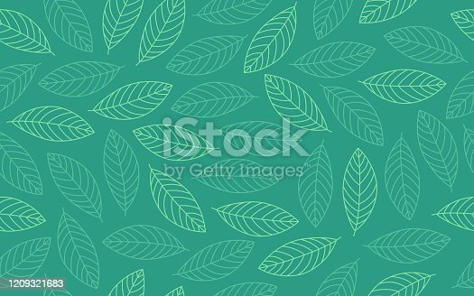 Spring leaf line drawing seamless repeating background green pattern.