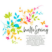 Colorful spring leaves and flowers background with copy space. Fresh, modern, clean graphics with bright colors.