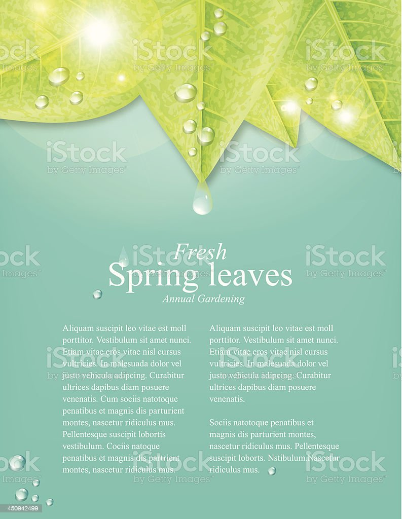 Spring leaves Background With Space For Text vector art illustration