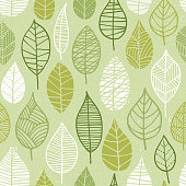 Spring green leaves silhouettes pattern for posters, brands, textile and banners. Illustration.
