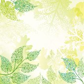 Sun-kissed green leaves on an abstract glowing background. Room for your text.
