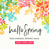 Colorful spring leaves background with copy space. Fresh, modern, clean graphics with bright colors.