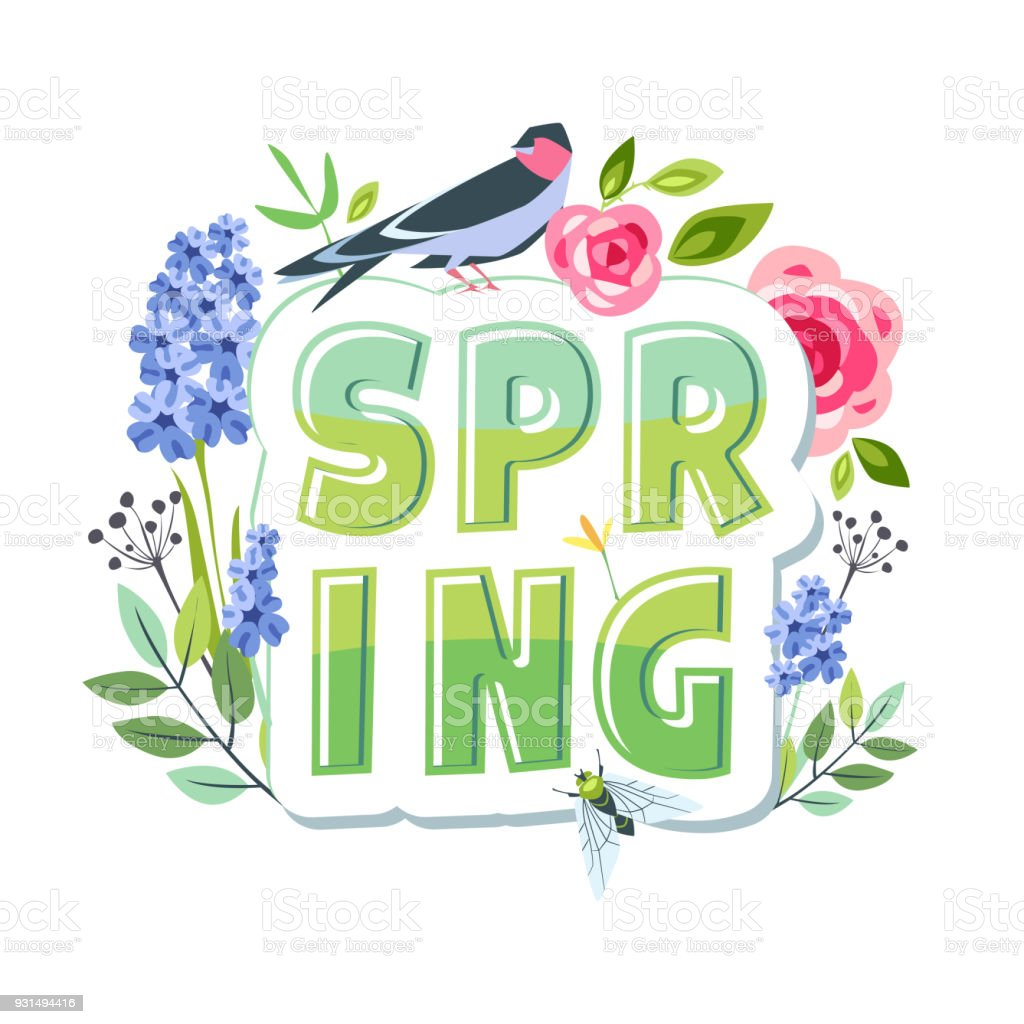 Spring Lettering Creative Greeting Card Message Print Sticker With