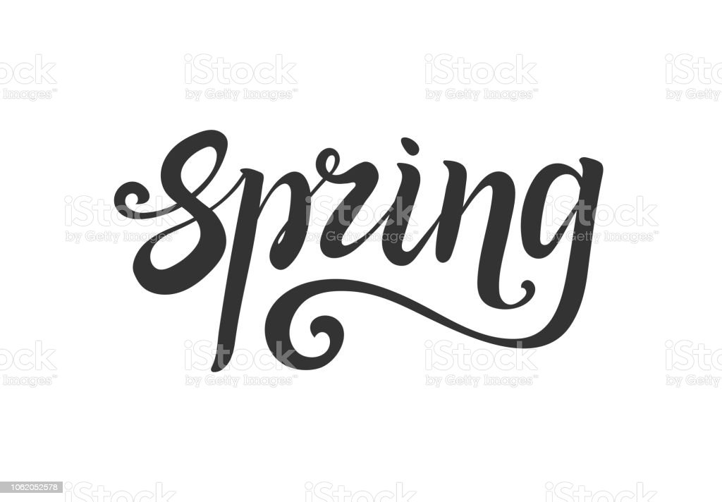 spring lettering. Hand write. Decorative element for design royalty-free spring lettering hand write decorative element for design stock illustration - download image now