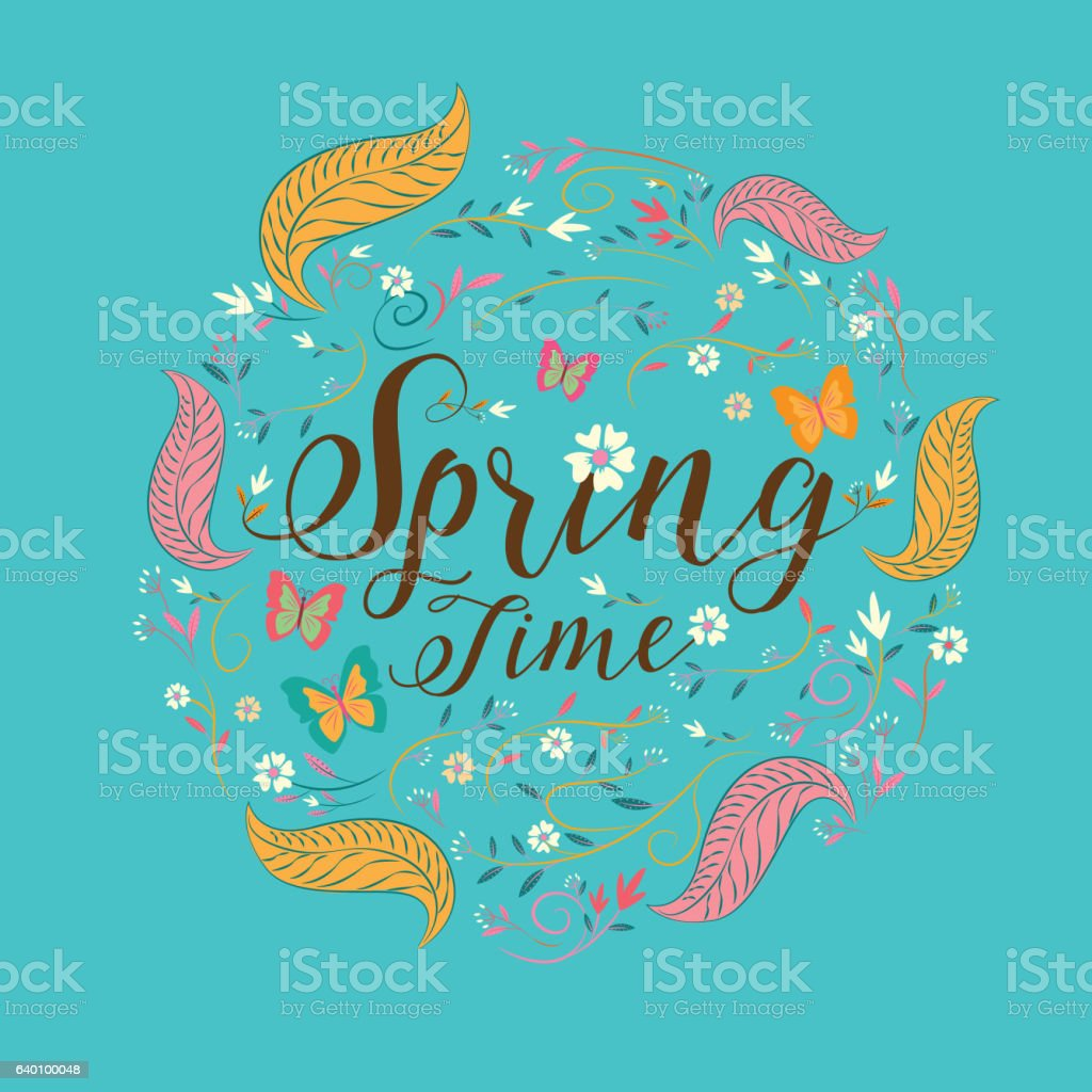 'Spring' lettering. spring  background. Text vector illustration. vector art illustration