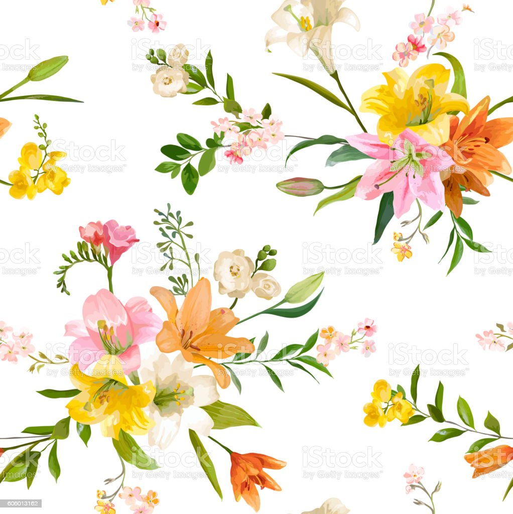 Spring lily flowers backgrounds seamless floral pattern stock vector spring lily flowers backgrounds seamless floral pattern royalty free spring lily flowers backgrounds seamless izmirmasajfo