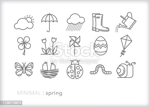Set of 15 spring line icons of weather, rain, sun, rain boots, watering can, garden animals, plants, easter egg, kit and pinwheel