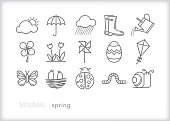 istock Spring line icons of items found outside in nature when weather warms up 1139775674
