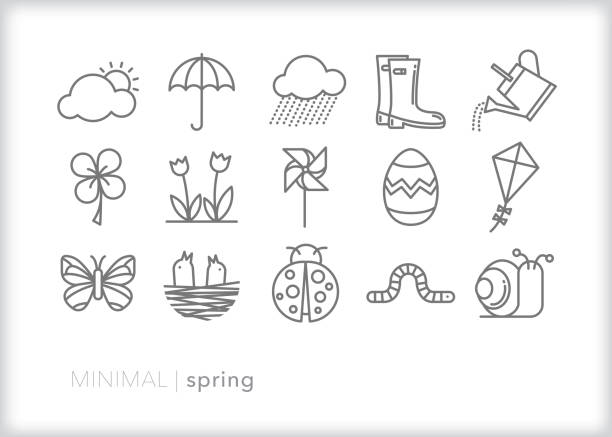 spring line icons of items found outside in nature when weather warms up - snail stock illustrations