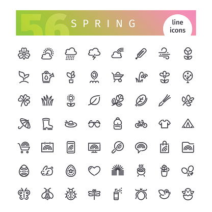 Spring Line Icons Set
