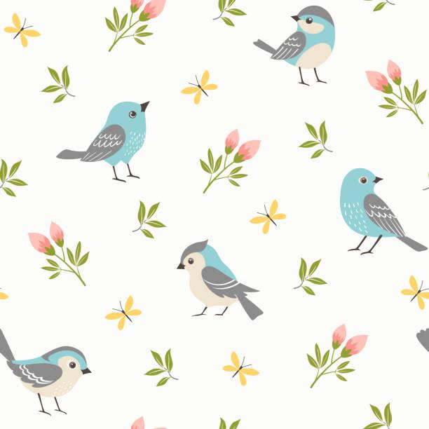 Spring little birds pattern vector art illustration