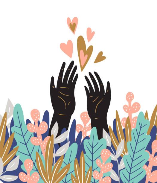 stockillustraties, clipart, cartoons en iconen met lente liefde kaart met handen, bladeren en harten. leuke romantische poster. naïeve vector design. - onschuld