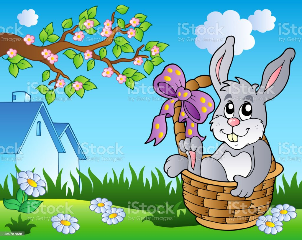 Spring meadow with bunny in basket royalty-free stock vector art