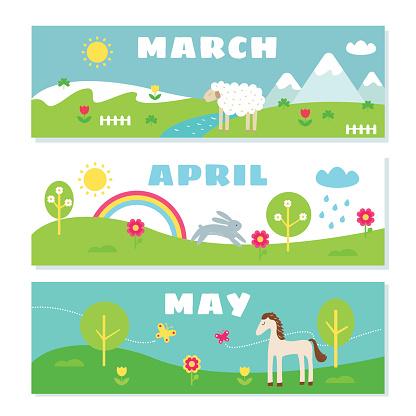 Spring Months Calendar Flashcards Set. Nature, Holidays and Symbols Illustrations