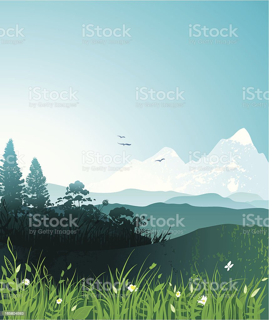 Spring mountain landscape royalty-free stock vector art