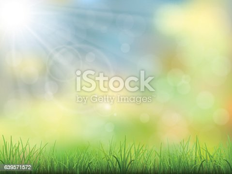 Vector spring nature background. Green grass and sun beam. Bokeh effect and flare.