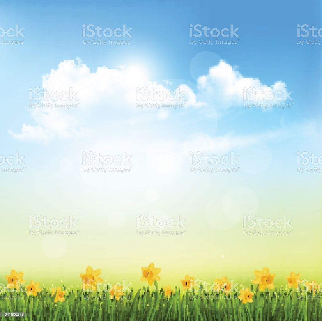 Spring Nature Background With A Green Grass And Blue Sky vector art illustration