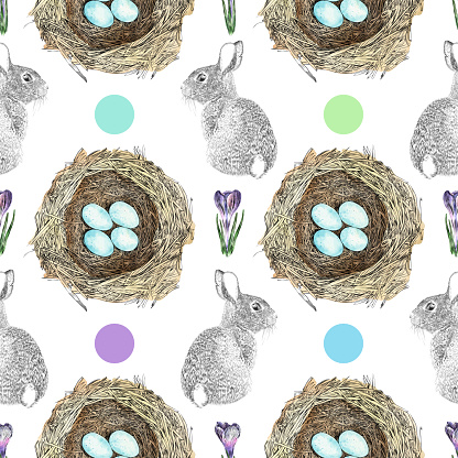 Spring or Easter Watercolor and Ink Vector Seamless Pattern