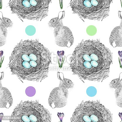 istock Spring or Easter Watercolor and Ink Vector Seamless Pattern 1208443092