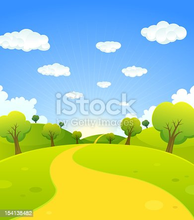 Vector illustration of a cartoon summer or spring season country landscape, with road trail leading towards horizon. File is EPS10 and uses light transparency at 20% for the star sunbeams at the background. Vector eps and high resolution jpeg files