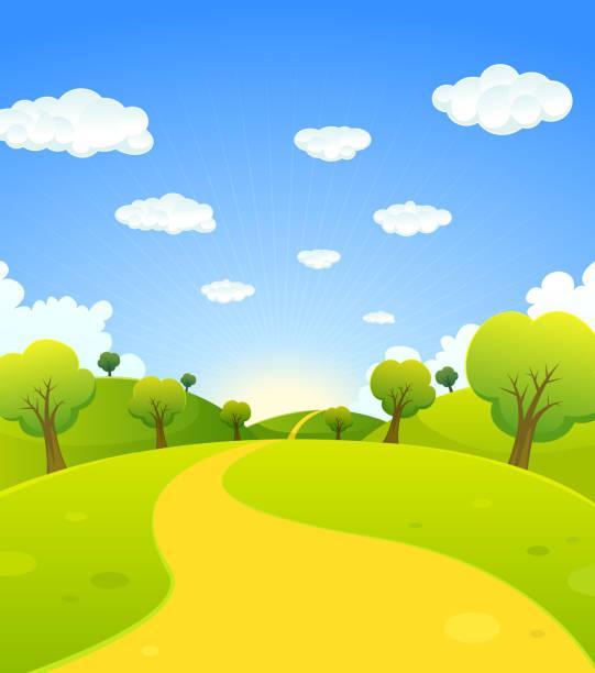 bildbanksillustrationer, clip art samt tecknat material och ikoner med spring or summer cartoon landscape - gränd