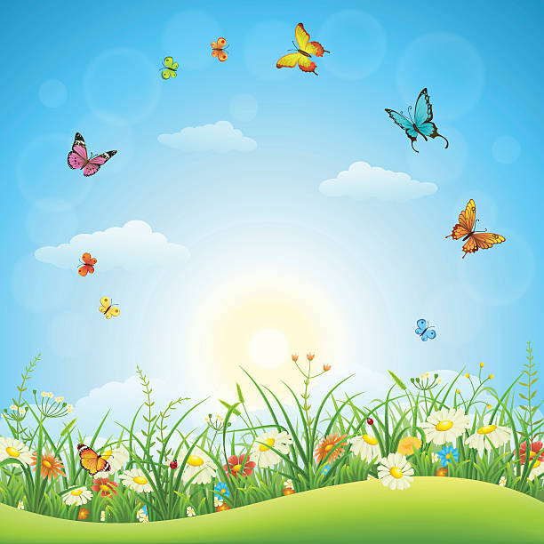 Spring or summer landscape vector art illustration