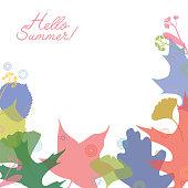 Hello Summer! Spring or Summer Leaves. Vector illustration.