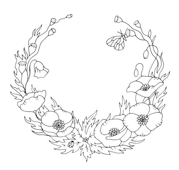 Spring or summer poppy floral nostalgic elegant romantic old fashioned wreath contour coloring page vector art illustration