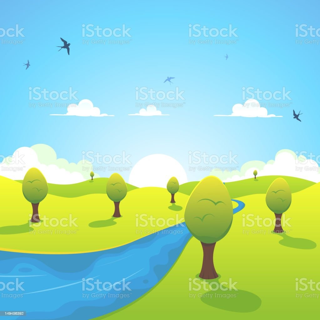 Spring Or Summer River And Flying Swallows royalty-free stock vector art