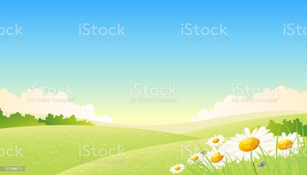 Spring Or Summer Seasons Poster vector art illustration