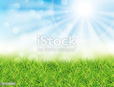 istock Spring or summer sunny day vector illustration. 913106302