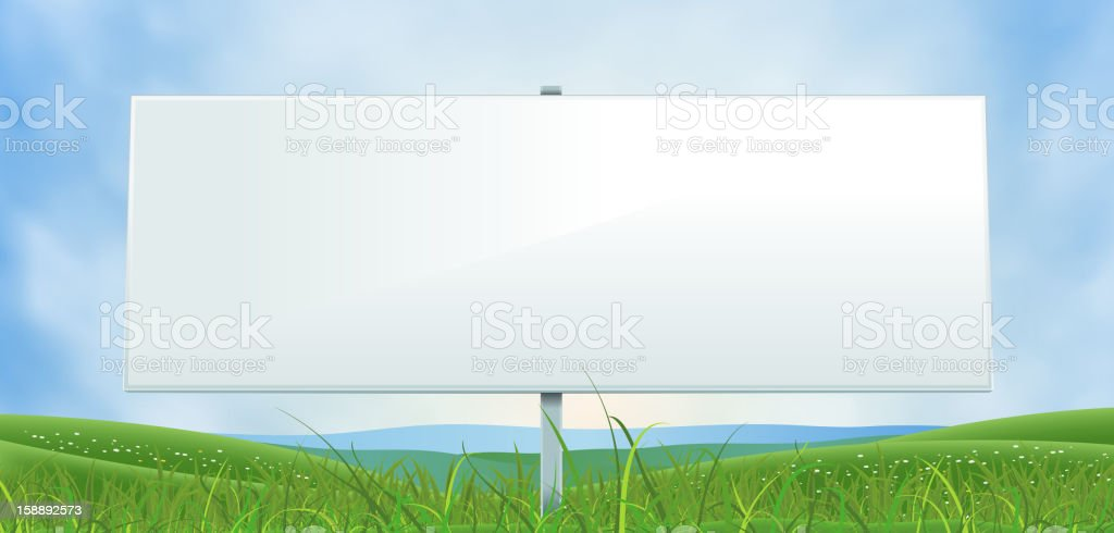 Spring Or Summer Wide White Billboard royalty-free stock vector art