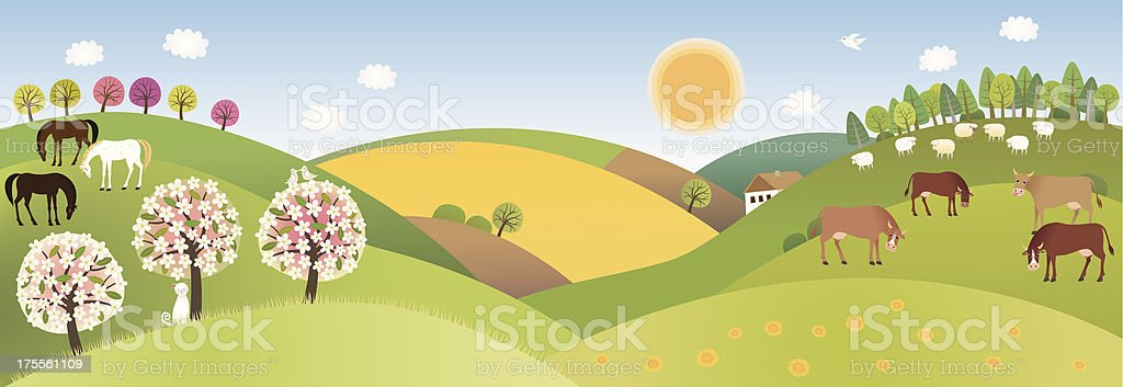 Spring panorama royalty-free spring panorama stock vector art & more images of agriculture