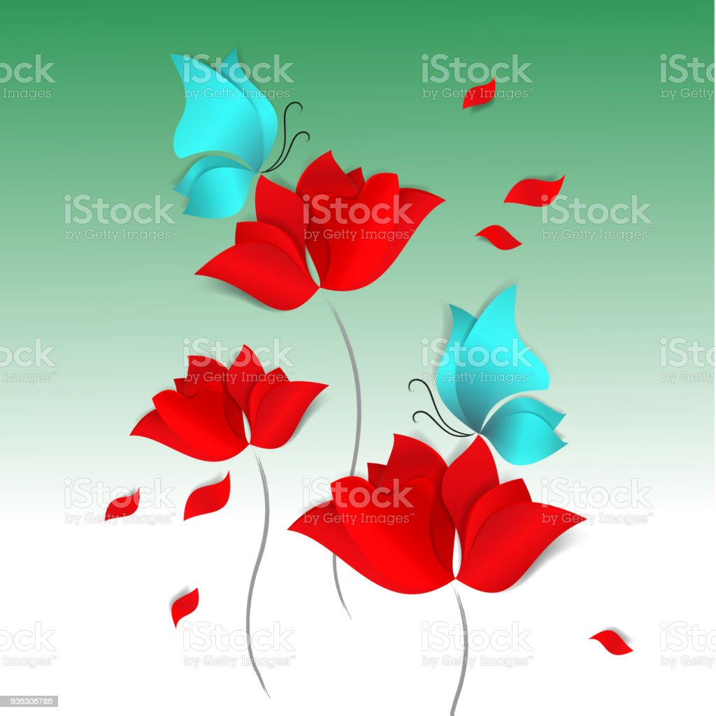 Spring Papercut Style Card On Green Background Red Flowers Blue