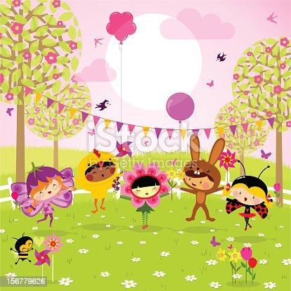 istock Spring party. Fun kids. 156779626