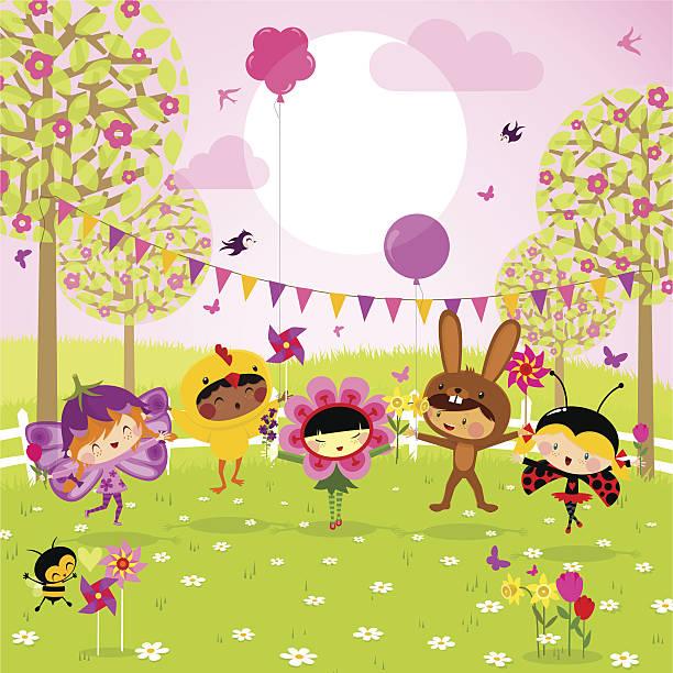 ilustrações, clipart, desenhos animados e ícones de primavera de. diversão para as crianças. - festa no jardim