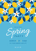 Spring Party invitation. Colorful fruit pattern of lemons on blue background. Stock illustration