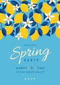 Spring Party invitation. Colorful fruit pattern of lemons on blue background. Stock illustration