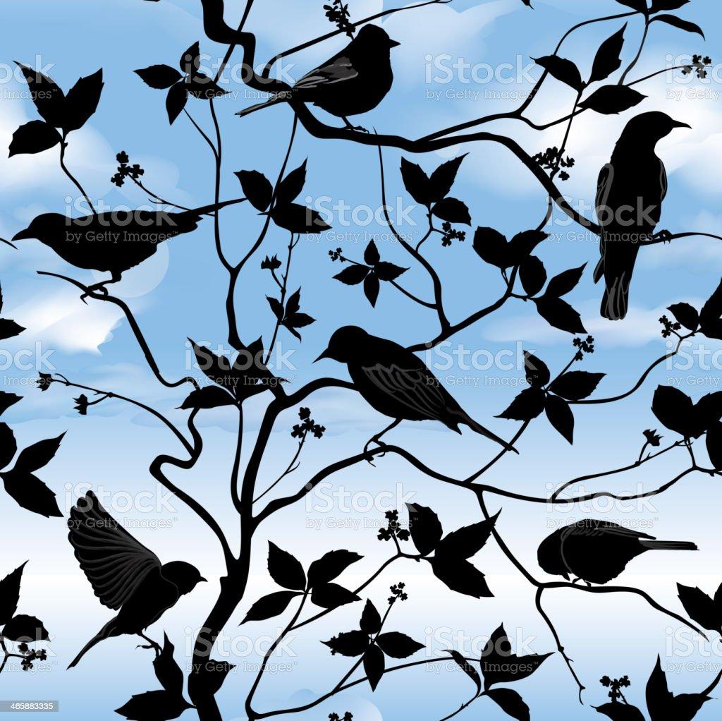 Spring patttern. Birds over blue sky background vector art illustration