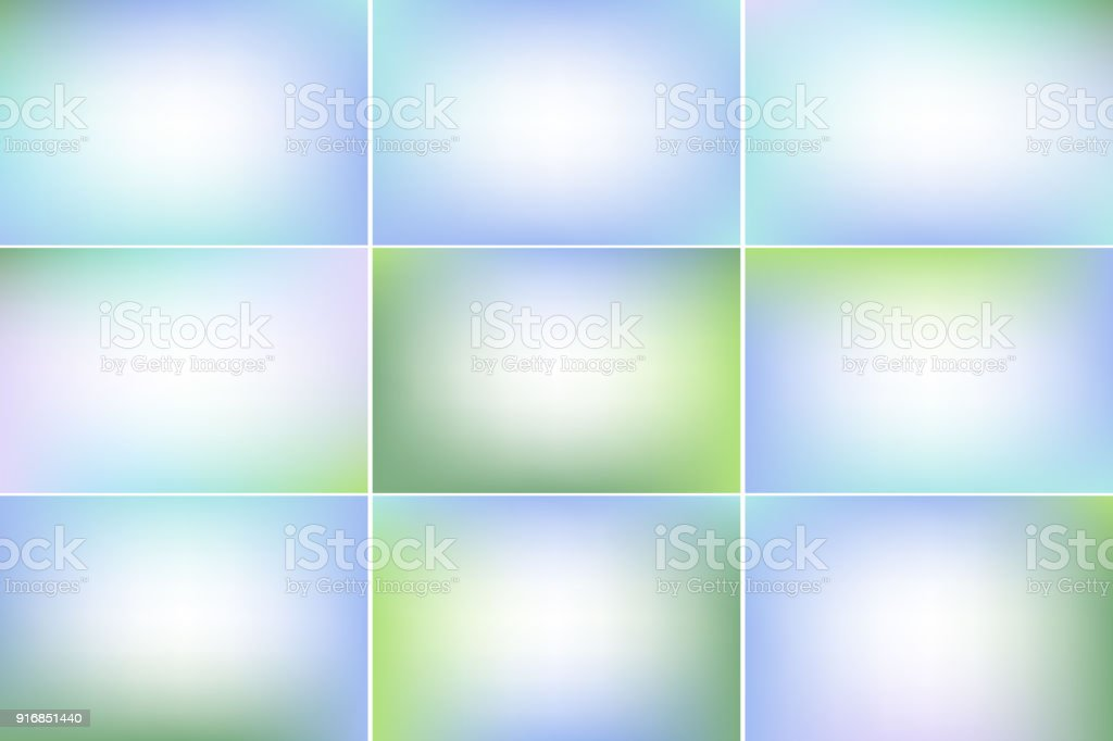 Spring peaceful banners. Blue and green colors. Gradient vector backgrounds collection vector art illustration