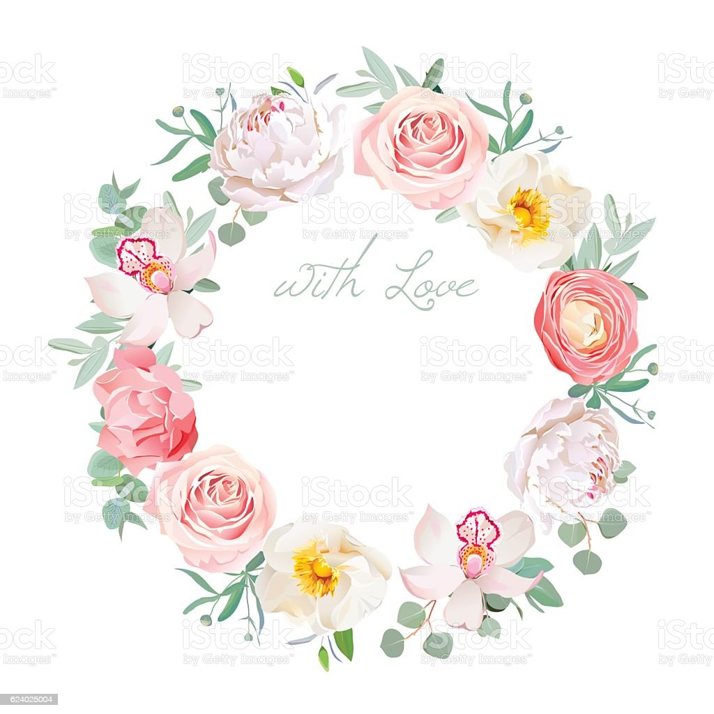 Spring peony, rose, ranunculus, orchid, carnation round vector design frame vector art illustration