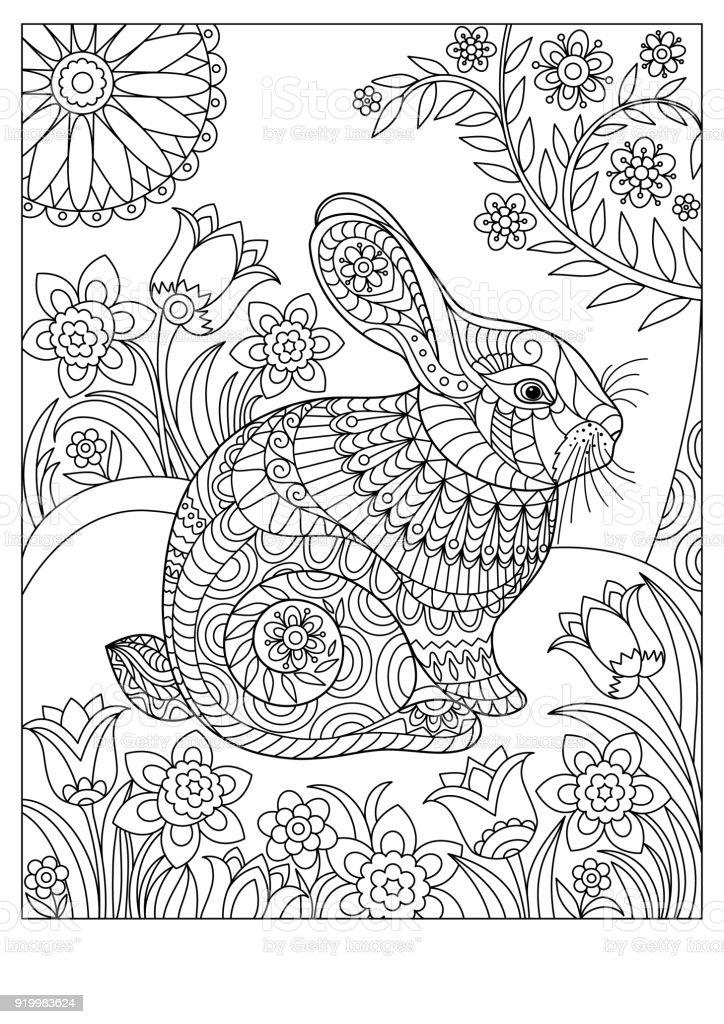 Ilustración De Conejo De Primavera Para Colorear Página Para Adultos