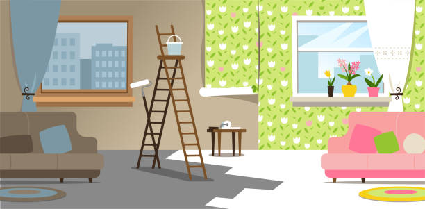 Spring renovation One room before and after a spring renovation. interior designer stock illustrations