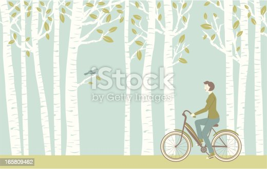 A retro-style woman takes a bike ride through the spring trees while a bird watches. Includes a version without the woman and the bike as well as a version of just the woman on the bike.